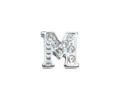 Floating Charms Floating charm letter m met crystals zilverkleurig voor de memory locket