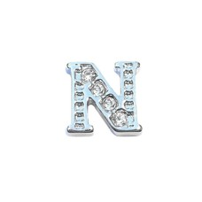 Floating Charms Floating charm letter n met crystals zilverkleurig