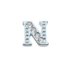 Floating Charms Floating charm letter n met crystals zilverkleurig