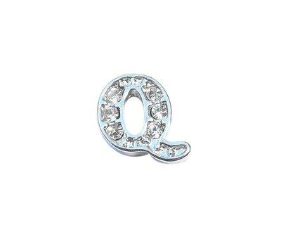 Floating Charms Floating charm letter q met crystals zilverkleurig voor de memory locket