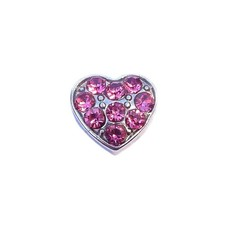 Floating Charms Floating charm hartje met roze crystals