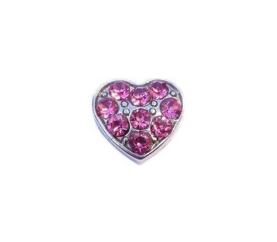 Floating Charms Floating charm hartje met roze crystals voor de memory locket