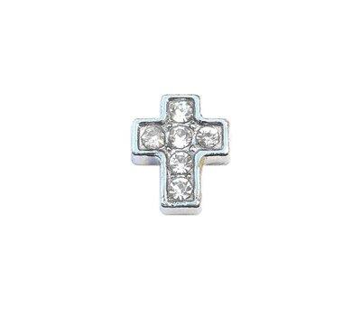 Floating Charms Floating charm kruis zilverkleurig met crystals voor de memory locket