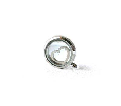 Floating locket  discs Memory locket disk open hart zilverkleurig