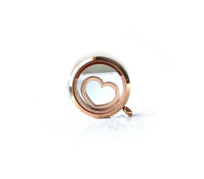 Floating locket  discs Memory locket disk open hart rosé goudkleurig