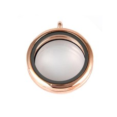 Floating locket Rosé goudkleurige memory locket rond large