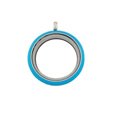 Floating locket Blauwe twist memory locket rond large