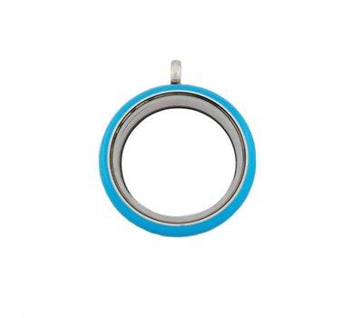 Floating locket Blauwe twist memory locket rond large