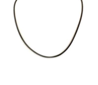Ketting zonder hanger Zwarte rvs snake ketting