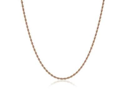 Ketting zonder hanger Rosé goudkleurige rvs rope ketting