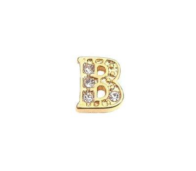 Floating Charms Floating charm letter b met crystals goudkleurig voor de memory locket