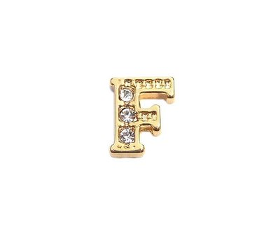 Floating Charms Floating charm letter f met crystals goudkleurig voor de memory locket