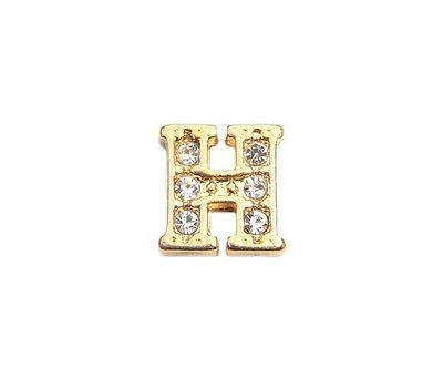 Floating Charms Floating charm letter h met crystals goudkleurig voor de memory locket