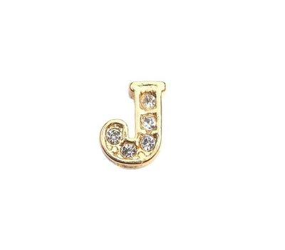 Floating Charms Floating charm letter j met crystals goudkleurig voor de memory locket