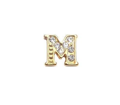 Floating Charms Floating charm letter m met crystals goudkleurig voor de memory locket