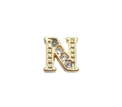 Floating Charms Floating charm letter n met crystals goudkleurig voor de memory locket