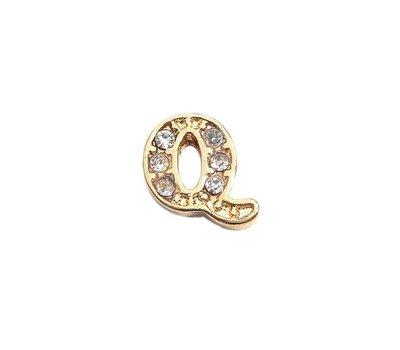 Floating Charms Floating charm letter q met crystals goudkleurig voor de memory locket