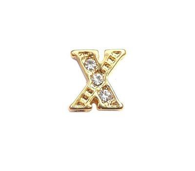 Floating Charms Floating charm letter x met crystals goudkleurig voor de memory locket