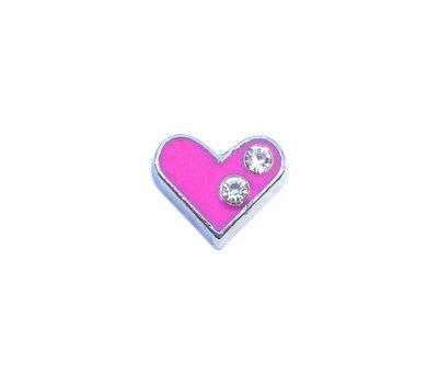 Floating Charms Floating charm roze hart met steentjes voor de memory locket
