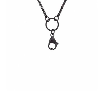 Ketting zonder hanger Zwarte rvs medium loop ketting