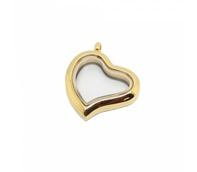 Floating locket Goudkleurige rvs memory locket hart gebogen