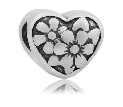 Bedels en Kralen Bedel flower zilverkleurig voor bedelarmbanden