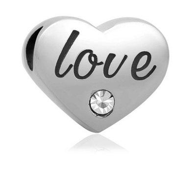 Bedels en Kralen Bedel love geschreven zilverkleurig voor bedelarmbanden