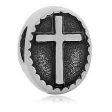 Bedels en Kralen Bedel kruis zilverkleurig