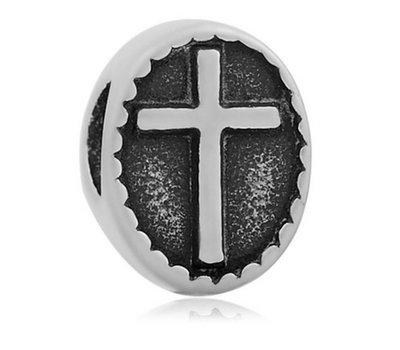 Bedels en Kralen Bedel kruis zilverkleurig voor bedelarmbanden