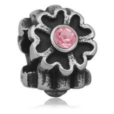 Bedels en Kralen Bedel bloem licht roze zilverkleurig