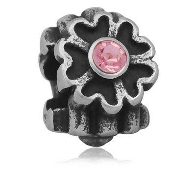 Bedels en Kralen Bedel bloem licht roze zilverkleurig voor bedelarmbanden