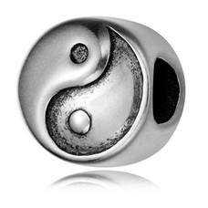 Bedels en Kralen Bedel yin yang zilverkleurig