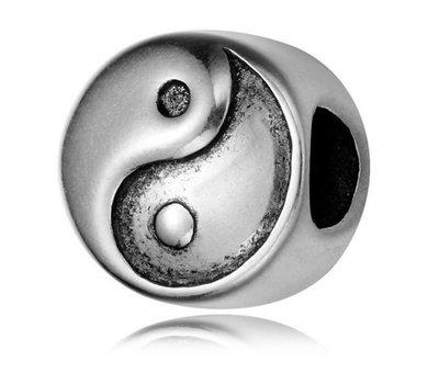 Bedels en Kralen Bedel yin yang zilverkleurig voor bedelarmbanden