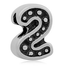 Bedels en Kralen Bedel cijfer 2 zilverkleurig