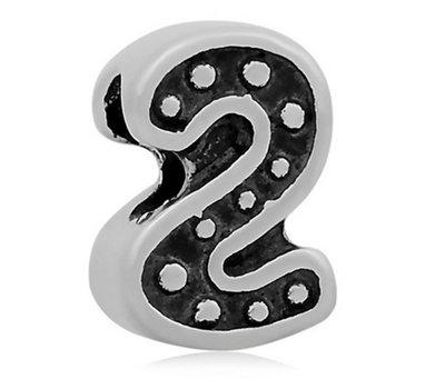 Bedels en Kralen Bedel cijfer 2 zilverkleurig voor bedelarmbanden