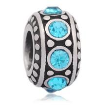 Bedels en Kralen Bedel steentjes blauw zilverkleurig