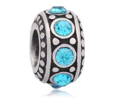 Bedels en Kralen Bedel steentjes blauw zilverkleurig voor bedelarmbanden