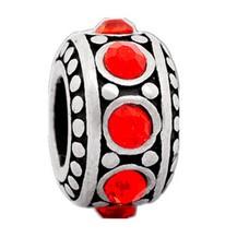 Bedels en Kralen Bedel steentjes rood zilverkleurig