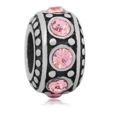 Bedels en Kralen Bedel steentjes roze zilverkleurig