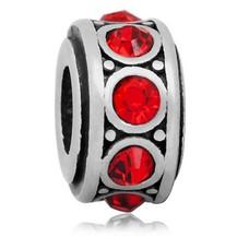 Bedels en Kralen Bedel crystal rood zilverkleurig