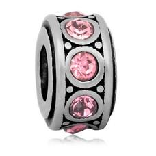 Bedels en Kralen Bedel crystal licht roze zilverkleurig