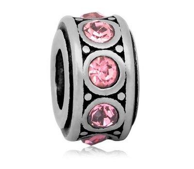 Bedels en Kralen Bedel crystal licht roze zilverkleurig voor bedelarmbanden
