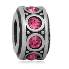 Bedels en Kralen Bedel crystal roze zilverkleurig