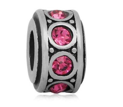 Bedels en Kralen Bedel crystal roze zilverkleurig voor bedelarmbanden
