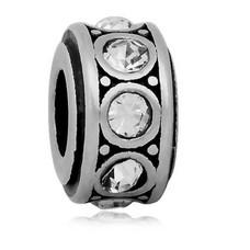 Bedels en Kralen Bedel crystal wit zilverkleurig