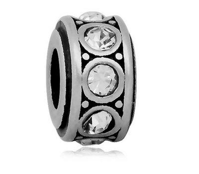 Bedels en Kralen Bedel crystal wit zilverkleurig voor bedelarmbanden