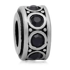 Bedels en Kralen Bedel crystal zwart zilverkleurig
