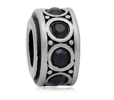 Bedels en Kralen Bedel crystal zwart zilverkleurig voor bedelarmbanden