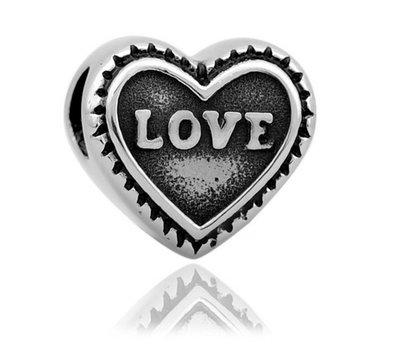 Bedels en Kralen Bedel love hartje zilverkleurig voor bedelarmbanden