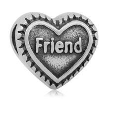 Bedels en Kralen Bedel friend hartje zilverkleurig
